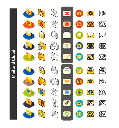 Set of icons in different style - isometric flat and otline, colored and black versions, vector symbols - Mail and cloud collection Ilustrace