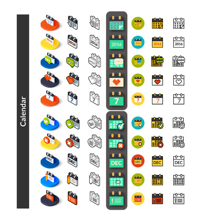 Set of icons in different style - isometric flat and otline, colored and black versions, vector symbols - Calendar collection