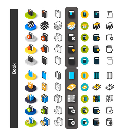 Set of icons in different style - isometric flat and otline, colored and black versions, vector symbols - Book collection