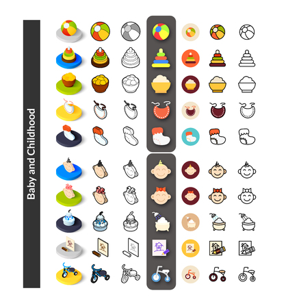bootees: Set of icons in different style - isometric flat and otline, colored and black versions, vector symbols - Baby and childhood collection