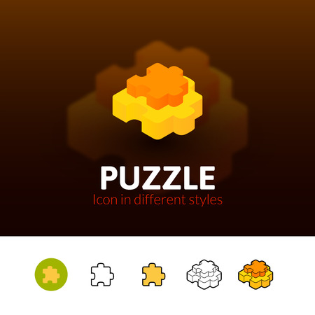 Puzzle color icon, vector symbol in flat, outline and isometric style isolated on blur background