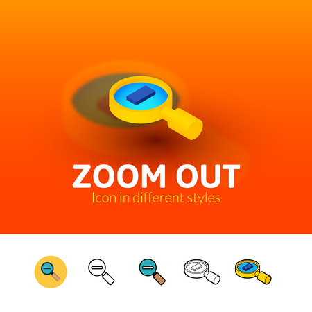 Zoom out color icon, vector symbol in flat, outline and isometric style isolated on blur background