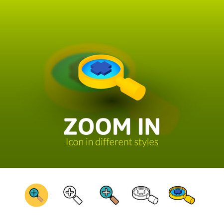 Zoom in color icon, vector symbol in flat, outline and isometric style isolated on blur background