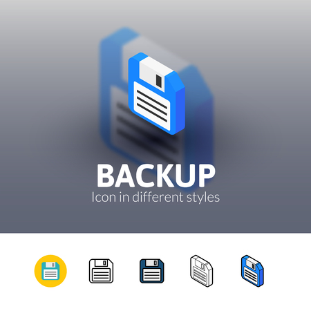 fdd: Backup color icon, vector symbol in flat, outline and isometric style isolated on blur background
