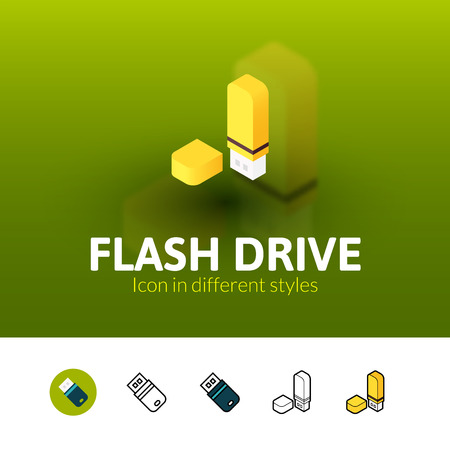 Flash drive color icon, vector symbol in flat, outline and isometric style isolated on blur background Illustration