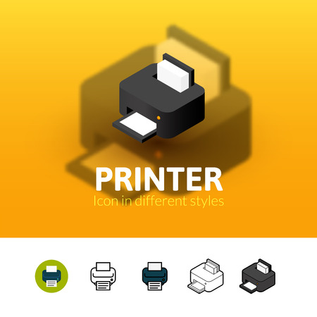Printer color icon, vector symbol in flat, outline and isometric style isolated on blur background