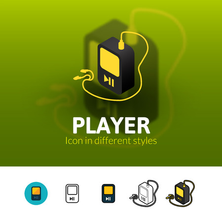 mp3 player: Player color icon, vector symbol in flat, outline and isometric style isolated on blur background