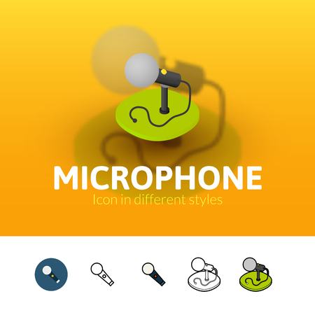 Microphone color icon, vector symbol in flat, outline and isometric style isolated on blur background