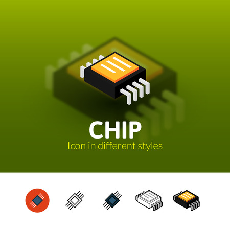 Chip color icon, vector symbol in flat, outline and isometric style isolated on blur background