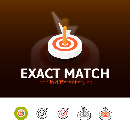 exact: Exact match color icon, vector symbol in flat, outline and isometric style isolated on blur background Illustration