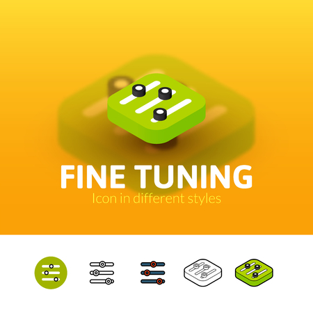 volume knob: Fine tuning color icon, vector symbol in flat, outline and isometric style isolated on blur background