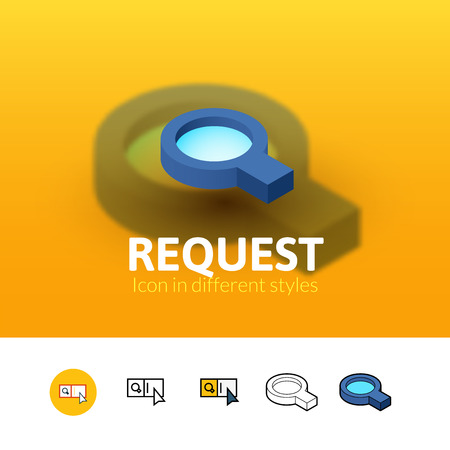 request: Request color icon, vector symbol in flat, outline and isometric style isolated on blur background Illustration