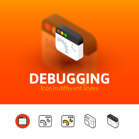 debugging: Debugging color icon, vector symbol in flat, outline and isometric style isolated on blur background