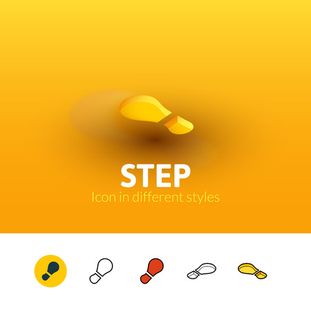 Step color icon, vector symbol in flat, outline and isometric style isolated on blur background