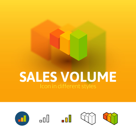 volume: Sales volume color icon, vector symbol in flat, outline and isometric style isolated on blur background Illustration