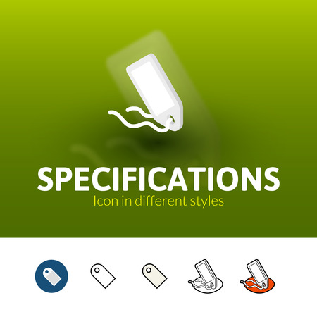 specifications: Specifications color icon, vector symbol in flat, outline and isometric style isolated on blur background