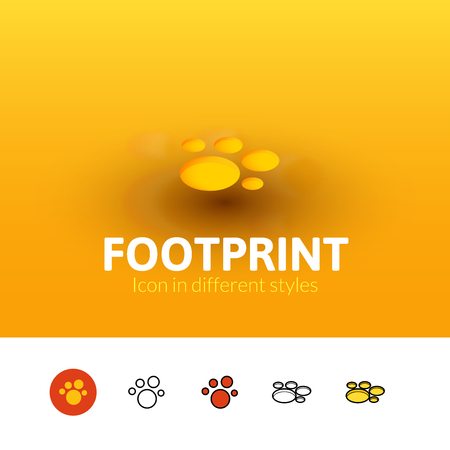 Footprint color icon, vector symbol in flat, outline and isometric style isolated on blur background Illustration