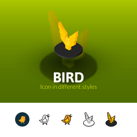 Bird color icon, vector symbol in flat, outline and isometric style isolated on blur background