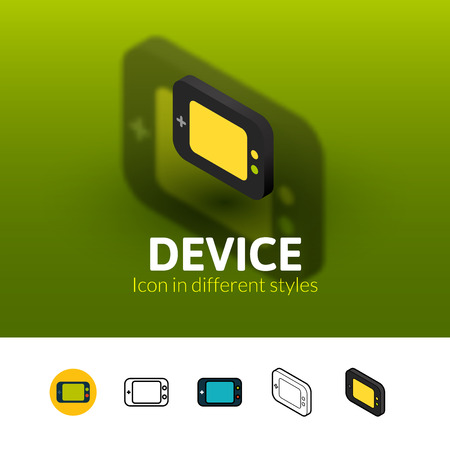 handheld device: Device color icon, vector symbol in flat, outline and isometric style isolated on blur background