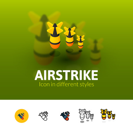 Airstrike color icon, vector symbol in flat, outline and isometric style isolated on blur background