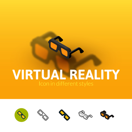 Virtual reality color icon, vector symbol in flat, outline and isometric style isolated on blur background Illustration