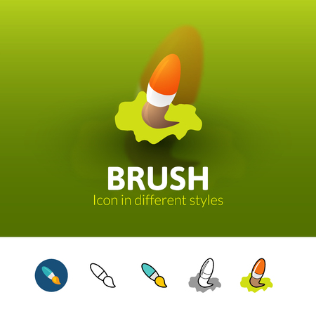 Brush color icon, vector symbol in flat, outline and isometric style isolated on blur background