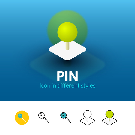Pin color icon, vector symbol in flat, outline and isometric style isolated on blur background