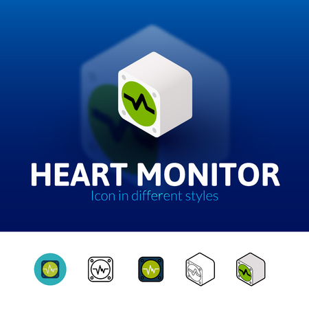 heart monitor: Heart monitor color icon, vector symbol in flat, outline and isometric style isolated on blur background Illustration