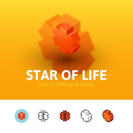 estrella de la vida: Estrella de la vida el color del icono, símbolo del vector en el plano, esquema y estilo isométrica aislado en el fondo borroso