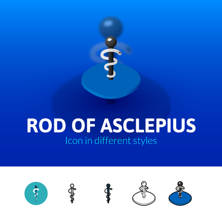 esculapio: Rod of Asclepius color icon, vector symbol in flat, outline and isometric style isolated on blur background Vectores