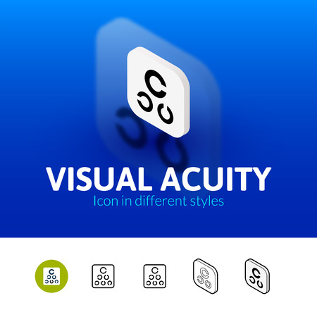 snellen: Visual acuity color icon, vector symbol in flat, outline and isometric style isolated on blur background