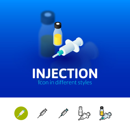 Injection color icon, vector symbol in flat, outline and isometric style isolated on blur background Illustration