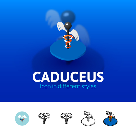 Caduceus color icon, vector symbol in flat, outline and isometric style isolated on blur background