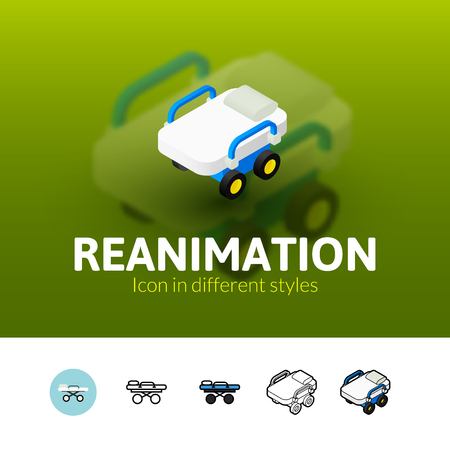 reanimation: Reanimation color icon, vector symbol in flat, outline and isometric style isolated on blur background Illustration