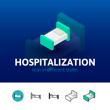 Hospitalization color icon, vector symbol in flat, outline and isometric style isolated on blur background Illustration