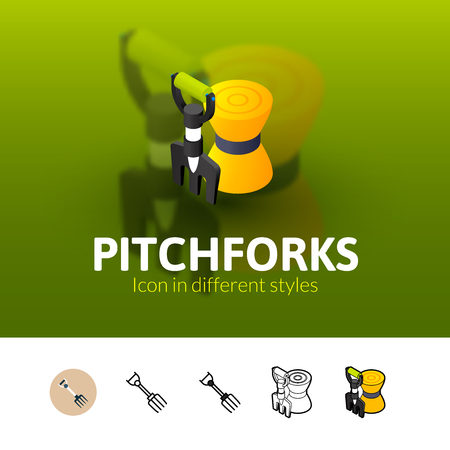 Pitchforks color icon, vector symbol in flat, outline and isometric style isolated on blur background Illustration