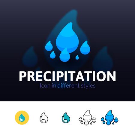 precipitación: icono de color precipitación, símbolo del vector en el plano, esquema y estilo isométrica aislado en el fondo borroso Vectores