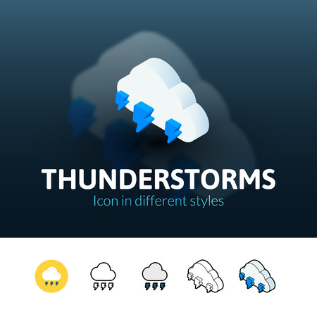thunderstorms: Thunderstorms color icon, vector symbol in flat, outline and isometric style isolated on blur background