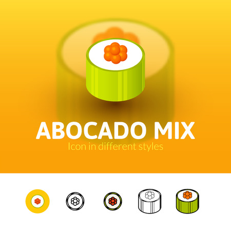 Abocado mix color icon, vector symbol in flat, outline and isometric style isolated on blur background Illustration