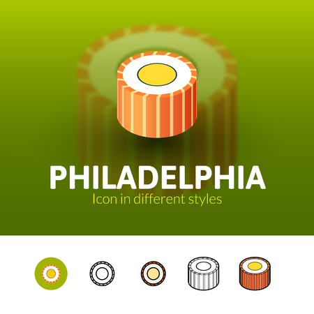 Philadelphia color icon, vector symbol in flat, outline and isometric style isolated on blur background