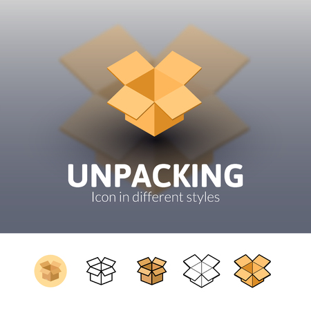 unpacking: Unpacking color icon, vector symbol in flat, outline and isometric style isolated on blur background