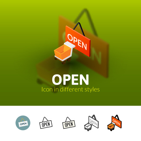 Open color icon, vector symbol in flat, outline and isometric style isolated on blur background Illustration