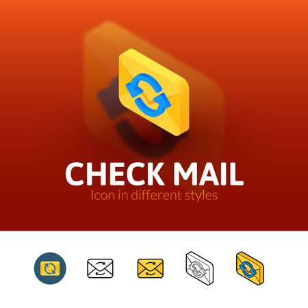 recive: Check mail color icon, vector symbol in flat, outline and isometric style isolated on blur background