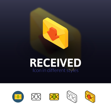 recive: Recived color icon, vector symbol in flat, outline and isometric style isolated on blur background