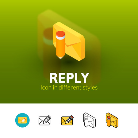 reply: Reply color icon, vector symbol in flat, outline and isometric style isolated on blur background