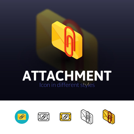 attachment: Attachment color icon, vector symbol in flat, outline and isometric style isolated on blur background