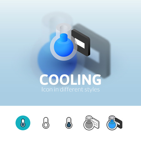thaw: Cooling color icon, vector symbol in flat, outline and isometric style isolated on blur background