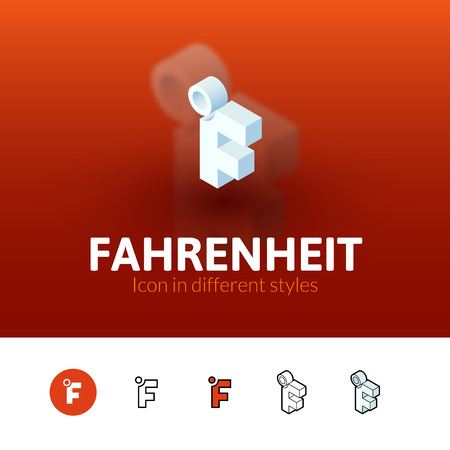 fahrenheit: Fahrenheit color icon, vector symbol in flat, outline and isometric style isolated on blur background Illustration