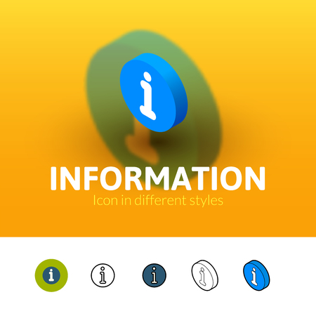 Information color icon, vector symbol in flat, outline and isometric style isolated on blur background