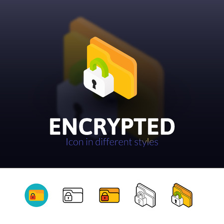 encrypted: Encrypted color icon, vector symbol in flat, outline and isometric style isolated on blur background